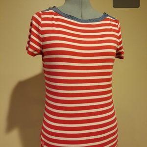 Ralph Lauren red, white & denim trim shirt